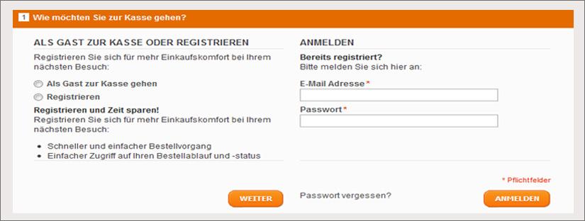 Registrieren oder als Gast einkaufen